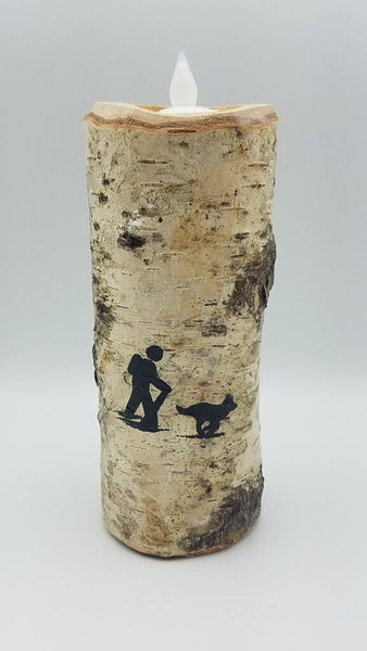 "6"" HIKER AND DOG BIRCH CANDLE"