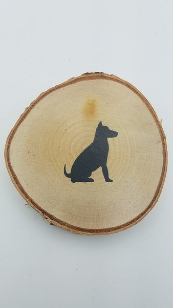 Dog Birch Tree Slice Coaster (Single)