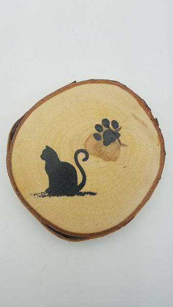 Cat Birch Tree Slice Coaster (Single)