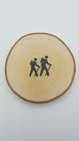 Hikers Birch Tree Slice Coaster