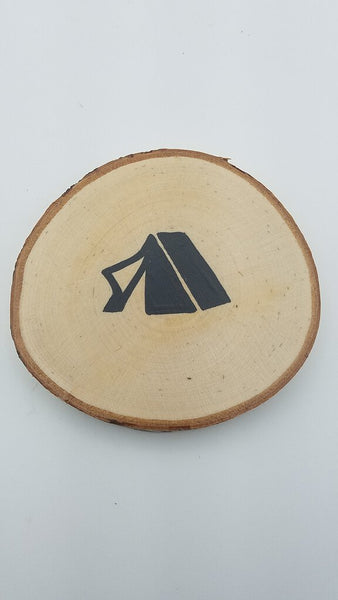 Tent Birch Slice Coaster (Single)