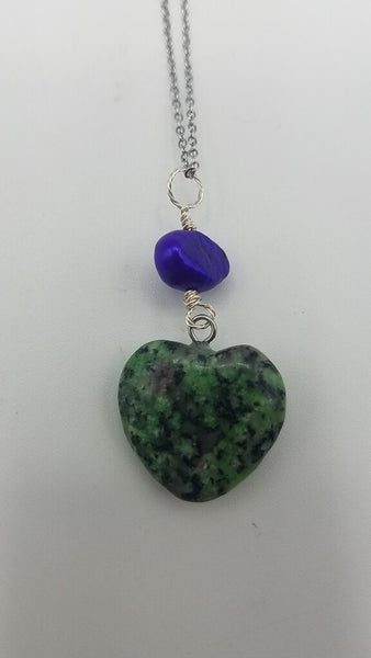 Zoisite Gemstone Heart & Fwater Pearl Necklace