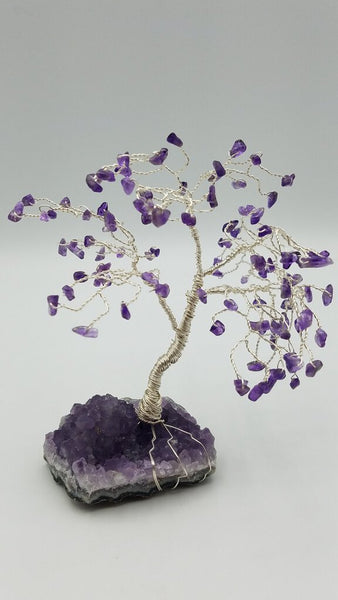 Amethyst On Amethyst Gemstone Wire Wrapped Tree