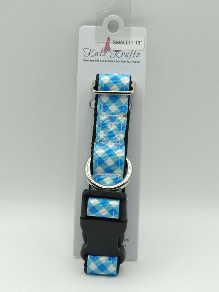 Small Blue Plaid Dog Collar with Plastic Buckle