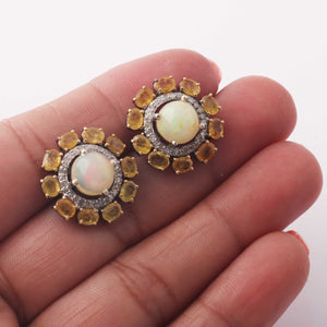 1 Pair Antique Finish Pave Rose Cut Diamond Yellow Sapphire Center in Opal Designer Round Earrings with Back Stopper - 925 Sterling Silver - 19mm ED442