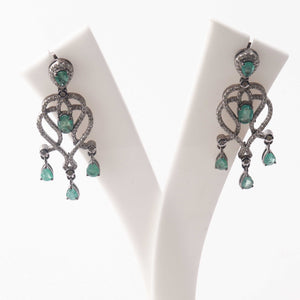1 Pair Pave Diamond-Genuine Emerald Designer Chandelier Earrings-925 Sterling Silver-Earrings With Back Stoppers 31mmx17mm ED404