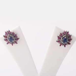 1 Pair Antique Finish Pave Rose Cut Diamond Ruby Center in Kyanite Designer Pear Stud Earrings with Back Stopper - 925 Sterling Silver - 18mmx16mm ED445