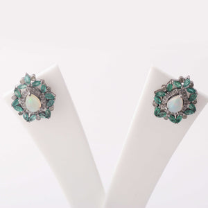 1 Pair Antique Finish Pave Rose Cut Diamond Emerald Center in Opal Designer Pear Stud Earrings with Back Stopper - 925 Sterling Silver - 21mmx19mm ED456