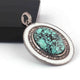 1 Pc Antique Finish Pave Diamond With Turquoise Designer Bakelite Oval Pendant - 925 Sterling Silver - Necklace Pendant RRPD083