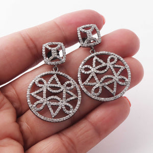 1 Pair Pave Diamond 925 Sterling Silver Designer Round Earrings - With Back Stoppers 25mmx25mm-11mmx11mm ED407