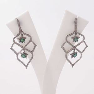 1 Pair Pave Diamond 925 Sterling Silver Emerald Designer Chandelier Long Earrings - With Back Stoppers 45mmx23mm-17mmx2mm ED409