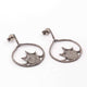 1 Pair Pave Diamond 925 Sterling Silver Round Fancy Earrings - With Back Stoppers 32mmx29mm ED086