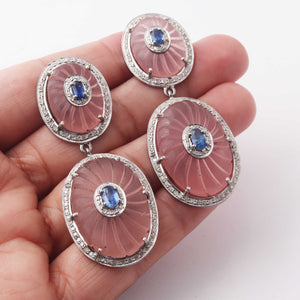 1 Pair Antique Finish Pave Diamond Pink Crystal with Kyanite Oval Earrings - 925 Sterling Silver - 36mmx24mm-24mmx20mm ED436