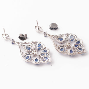 1 Pair Pave Diamond With Kyanite Earring - Diamond Dangle Flower Earrings - 925 Sterling Silver 41x23mm-15x6mm ED401