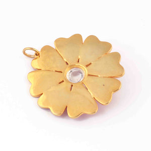 1 Pc Pave Diamond With Moonstone Bakelite Flower Charm Pendant Over Yellow Gold  - 38mmx36mm RRPD069