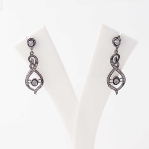 1 Pair Pave Diamond with Rosecut Diamond Earring -925 Sterling Silver - Polki Earrings 33mmx12mm-11mmx6mm ED412