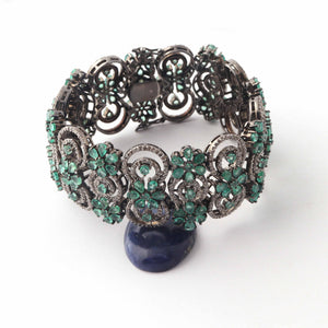 1 Pc Antique Finish Designer Pave Diamond with Emerald Bracelet - 925 Sterling Silver  -  Bangle Size : 7.5x1 inches Bd330