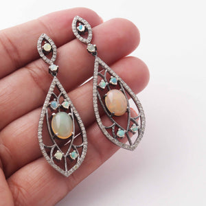1 Pair Pave Diamond Designer Ethiopian Opal Earring - Pave Diamond Earrings - 925 Sterling Silver-8mmx7mm-41mmx18mm ED419