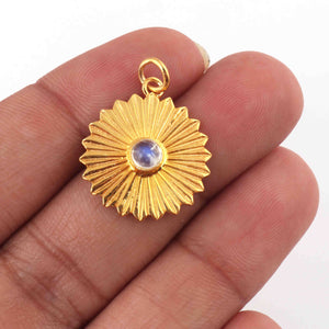 1 Pc Pave Diamond With Moonstone Flower Charm Pendant Over Yellow Gold - 21mmx18mm RRPD066