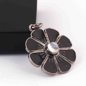 1 Pc Pave Diamond With Moonstone Bakelite Flower Charm Pendant Over 925 Sterling Silver - 22mmx20mm RRPD059