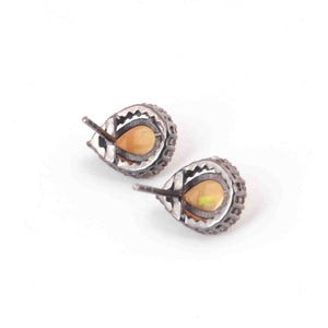 1 Pair Pave Diamond With Ethiopian Opal  Pear Shape Stud Earrings With Back Stoppers - 925 Sterling Silver 13mmx10mm RRED023