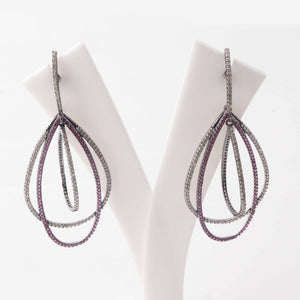 1 Pair Pave Diamond 925 Sterling Silver Designer Ruby Pear Drop Long Earrings - With Back Stoppers 55mmx30mm-25mmx2mm ED423