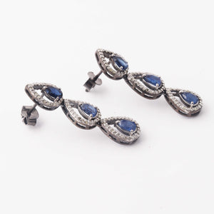 1 Pair Pave Diamond 925 Sterling Silver Kyanite Pear Drop Long Earrings - With Back Stoppers 40mmx9mm ED402