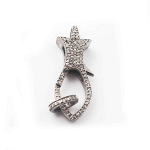 1 PC Antique Finish Pave Diamond Lobsters Over 925 Sterling Silver - Double Sided Diamond Clasp 31mmx11mm GVLB006