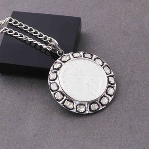 1 Pc Pave Diamond With Rose Cut Diamond Victoria King Coin Pendant-925 Sterling Silver Round Shape Diamond Pendant 38mmx34mm PD1811