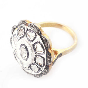 1 PC Pave Diamond With Rose Cut Diamond Flower Ring - 925 Sterling Vermeil- Polki Ring Size-9 Rd456