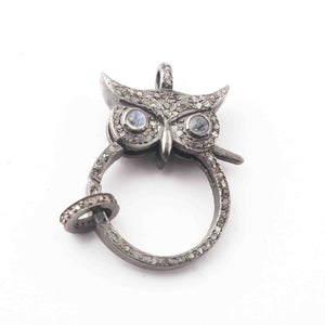 1 PC Antique Finish Pave Diamond Owl Shape Lobsters With Rainbow Moonstone Eye Over 925 Sterling Silver - Double Sided Diamond Clasp 33mmx22mm GVLB014