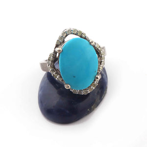 1 PC Beautiful Pave Diamond With Turquoise, Oval Shape Ring - 925 sterling silver Diamond Ring- Size:8 SJRD014