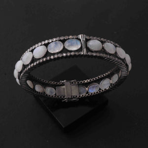 1 Pc Pave Diamond 925 Sterling Silver Bangle with Rainbow Moonstone  -- Designer Bangle Size : 2.5 BD303