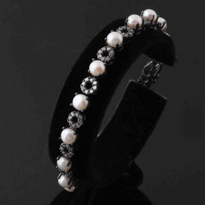 1 Pc Antique Finish Pave Diamond With Pearl Designer Bracelet - 925 Sterling Silver  -  Bangle Size : 7.5inches Bd300