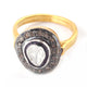 1 Pc Beautiful Pave Diamond - Rosecut (Polki) Diamond Designer Ring - 925 Sterling Vermeil - Fancy Ring Rd451