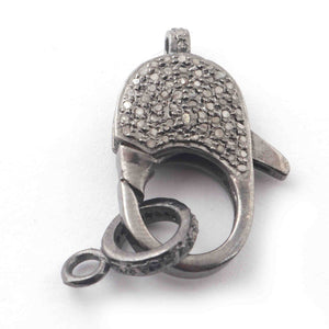1 PC Antique Finish Pave Diamond Lobsters Over 925 Sterling Silver - Double Sided Diamond Clasp 25mmx12mm GVLB025