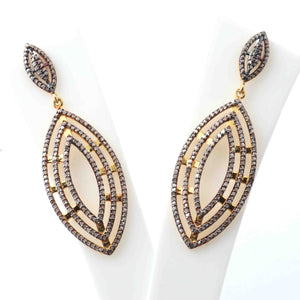 1 Pair Pave Diamond 925 Sterling Vermeil Designer Long Earrings - With Back Stoppers 43mmx20mm-18mmx97mm ED311