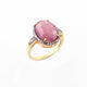 1 PC Beautiful Pave Diamond Ruby Ring - 925 Sterling Vermail- Gemstone Ring Size -7 RD457