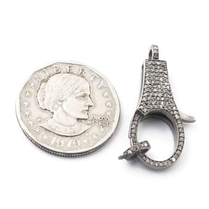 1 PC Antique Finish Pave Diamond Lobsters Over 925 Sterling Silver - Double Sided Diamond Clasp 34mmx13mm GVLB022