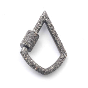 1 Pc Pave Diamond Lock- 925 Sterling Silver- Diamond Fancy Shape Lock with Screw On Mechanism 31mmx21mm GVCB003