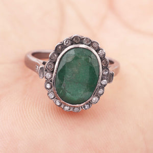 1 PC Beautiful Pave Diamond Emerald Ring - 925 Sterling Silver - Gemstone Ring Size-8.5 Rd454