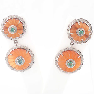 1 Pair Antique Finish Pave Diamond Emerald Round Crystal Earrings - 925 Sterling Silver - 24mm-20mm ED464