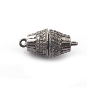 1 Pc Pave Diamond Antique Lock 925 Sterling Silver Diamond Link Two Loop Magenet Lock - 20mmx9mm GVCB018