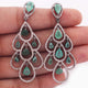 1 Pair  Pave Diamond with Emerald Designer Leaf Long Earrings - 925 Sterling Silver - 45mmx19mm-11mmx9mm ED421