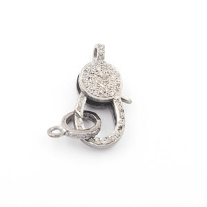 1 PC Pave Diamond Lobster Clasp Antique Finish - Double Side Diamonds, Lobster with Jump Ring 24mmx11mm LB230