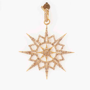 1 PC  Antique Finish Pave Diamond Designer Star Pendant - 925 Sterling Silver- Yellow Gold - Diamond Pendant 50mmx44mm PD1969