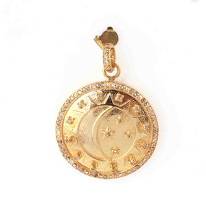 1 PC  Antique Finish Pave Diamond Designer Round  Pendant - 925 Sterling Silver- Yellow Gold -Diamond Pendant 36mmx31mm PD1979