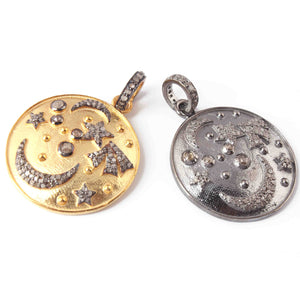1 PC  Antique Finish Pave Diamond Designer Round Pendant - 925 Sterling Silver- Yellow Gold -Diamond Pendant 29mmx25mm PD1970