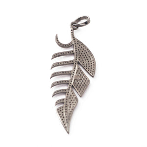 1 Pc Antique Finish Pave Diamond Feather Pendant - 925 Sterling Silver-Diamond Pendant- Necklace Pendant 50mmx18mm PD1759