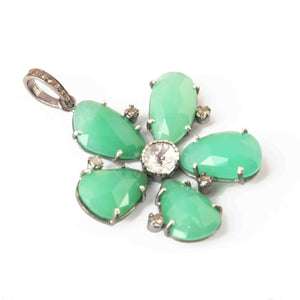 1 Pc Pave Diamond Chrysoprase With Rose Cut Flower Pendant Over 925 Sterling Silver -Necklace Pendant 41mmx38mm PD1981